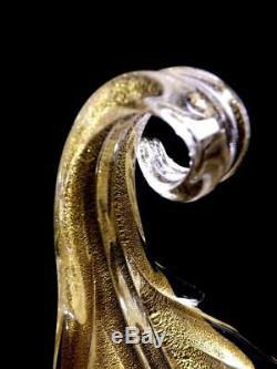 Vintage Seguso Italian Murano Glass Gold Aventurine Candle Holders Stickers