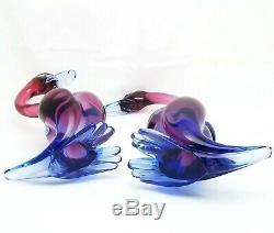 Vintage Seguso Murano Italian Amethyst & Blue Sommerso Glass Duck Figurines