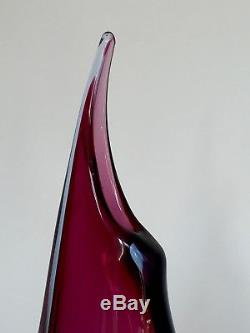 Vintage Semmesso Murano 38cm Glass Vase Flavio Poli Archimede Seguso Italy c1950