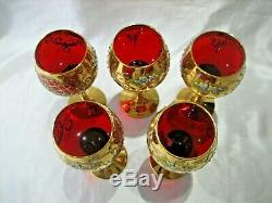 Vintage Set Of 5 Ruby Red Venetian Murano Hand Painted Wine Glass Goblets