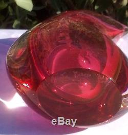 Vintage Signed Italian Murano Sommerso Art Glass Teardrop Cranberry Pink Vase