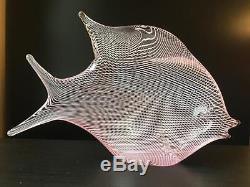 Vintage Signed Murano Art Glass Oggetti Latticino Exotic Pink Fish Sculpture