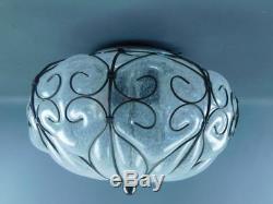 Vintage Siru Venetian Blown Caged Art Glass Murano Ceiling Light Fixture #1