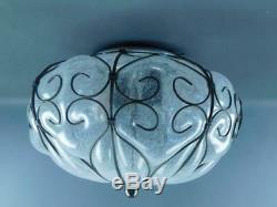 Vintage Siru Venetian Blown Caged Art Glass Murano Ceiling Light Fixture #2