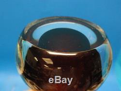 Vintage Sommerso Amber Murano Glass Stem Bud Vase 6 Italy