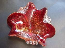 Vintage Sommerso Murano Red Art Glass Bowl Silver Foil Italy Mid -Century 1950's