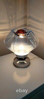 Vintage Space Age Murano Glass chrome Lamp Light Toni Zuccheri For Mazzega Italy