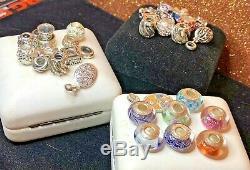 Vintage Sterling Silver Chamilia Charms Swarovski Enamel Murano Glass Lot 31