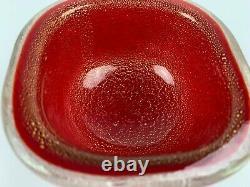 Vintage Stunning Carlo Scarpa Venini Murano Red Aventurine Glass Bowl. Gold leaf
