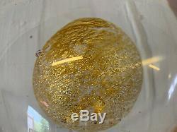 Vintage Tapio Wirkkala for Venini Signed Italian Clear Glass Egg with Gold Yolk