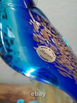 Vintage Unique Rare Gold Blue Murano Glass 14 3/4 Tall Parrot Cockatoo Bird