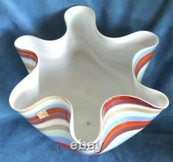 Vintage VENINI LABEL Murano Circus Aventurine Lattimo Handkerchief Glass Vase