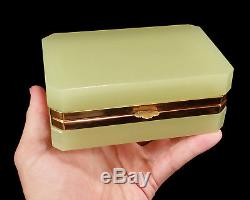 Vintage Vaseline Opaline Art Glass Hinged Jewelry Box Casket Cenedese Murano