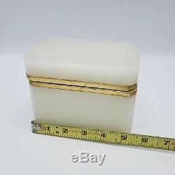 Vintage Vaseline Opaline Art Glass Hinged Jewelry Box Casket Cenedese Murano 5