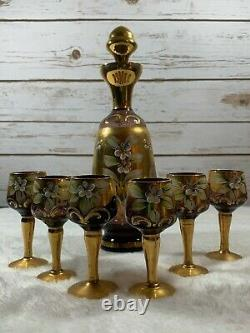 Vintage Venetian Art Murano Italy Hand Painted Glass Decanter Set Gold Floral
