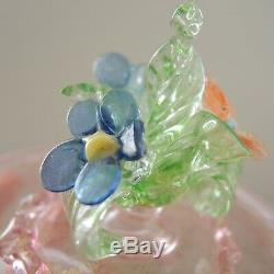 Vintage Venetian Glass Flower Jewelry Box Murano Dresser Jar Aventurine Salviati