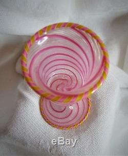 Vintage Venetian MURANO Pink Yellow Ribbon Swirl Filigrana Wine Cordial Goblet