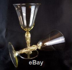 Vintage Venetian Murano Art Glass Aventurina Gold Twist Stem Wine Goblet
