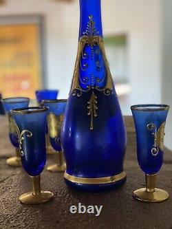 Vintage Venetian Murano Cobalt Blue With 24k Gold Decanter And Glasses
