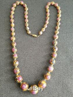 Vintage Venetian Murano Foiled Aventurine Rose Lampwork Art Glass Bead Necklace