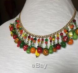 Vintage Venetian Murano Glass Bead & Glass Fruit Salad Necklace Gorgeous
