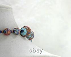 Vintage Venetian Murano Glass Blue Pink Gold Foil Wedding Cake Bead Necklace