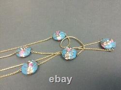Vintage Venetian Murano Glass Blue Pink Gold Foil Wedding Cake Bead Necklace 58