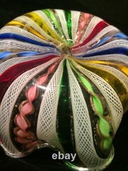 Vintage Venetian Murano Italian Art Glass Latticino Multicolored Bowl