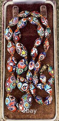 Vintage Venetian Murano MILLEFIORI Graduated Glass Bead Necklace