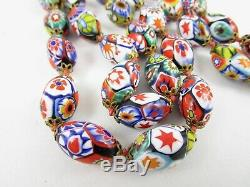 Vintage Venetian Murano Millefiori Art Glass Oval Bead Long Necklace 28