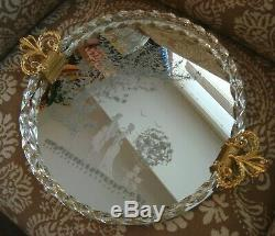 Vintage Venetian Murano Mirror Etched Glass Roped Large Round Tray