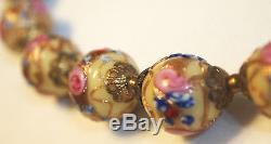 Vintage Venetian Murano Pink Gold Wedding Cake Lampwork Bead Art Glass Necklace