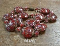 Vintage Venetian Murano Wedding Cake Red Glass Flat Disc Bead Necklace