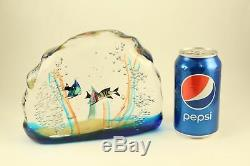 Vintage Venezia Murano Art Glass Aquarium Fish Tank Paperweight Sculpture Signed