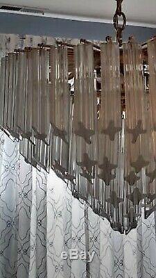 Vintage Venini Italian Murano Glass Prism Chandelier 110 6 Quattro Prisms