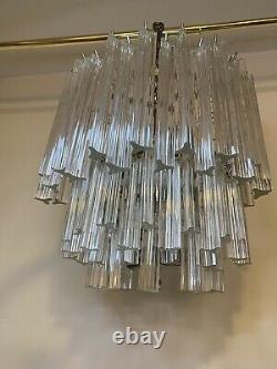 Vintage Venini Italian Murano Glass Prism Chandelier Chrome Triangle Prisms 18