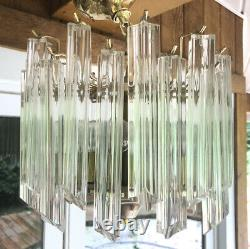 Vintage Venini Italian Murano Glass Prism Chandelier Quattro Prisms Small Flush