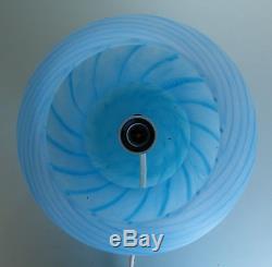 Vintage Venini Venetian Murano Art Glass Mushroom Table Lamp Blue Swirl 7 1/2