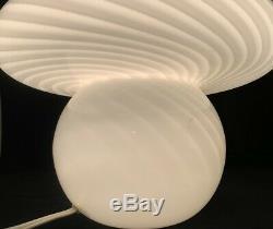 Vintage Venini Vetri Murano Lamp in White Swirl Mid Century Modern