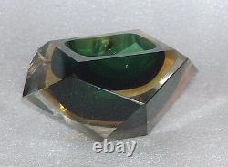 Vintage Very Nice Murano Glass Set Of Desk/table Lighter And Ashtray, Italy