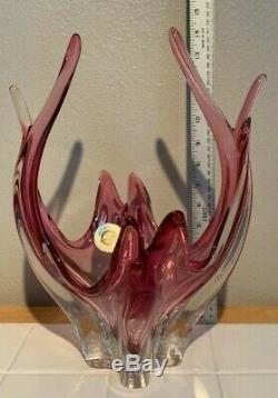 Vintage Vetreria Italian 14 Vase Murano Sommerso Cranberry Pink Art Glass Bowl