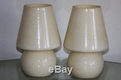 Vintage Vetri Murano Glass Mushroom Lamps Venini Italian Italy Modern Deco