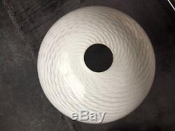 Vintage Vetri Venino Murano Art Glass White Swirl Lamp / Light Shade