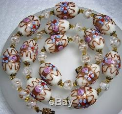 Vintage White Murano Venetian Lampwork Wedding Cake Art Glass Bead Necklace 20