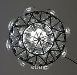 Vintage Wrought Iron Caged Murano Glass Ceiling Light Mouth Blown Glass