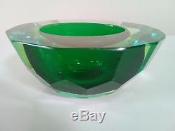 Vintage faceted Murano Mandruzzato sommerso Glass geode small Caviar bowl