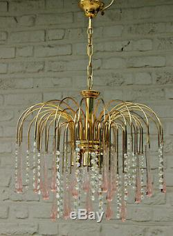 Vintage italian Mid century Murano drops pink clear glass Chandelier 1970 n1