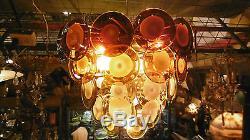 Vintage italian midcentury Vistosi Murano glass chandelier circles 1960