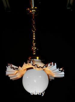 Vintage midcentury handmade Murano cased glass & brass light Opaline globe shade