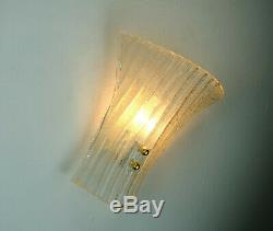 Vintage pair of italian ice glass WALL LAMPS 1960s murano glass sconces